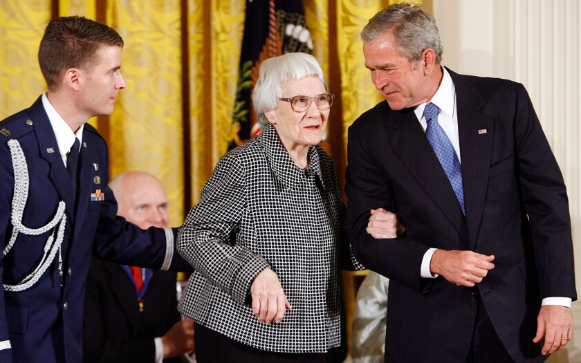 Harper Lee in 2007 with President George W. Bush at the White House, where she received the Presidential Medal of Freedom.