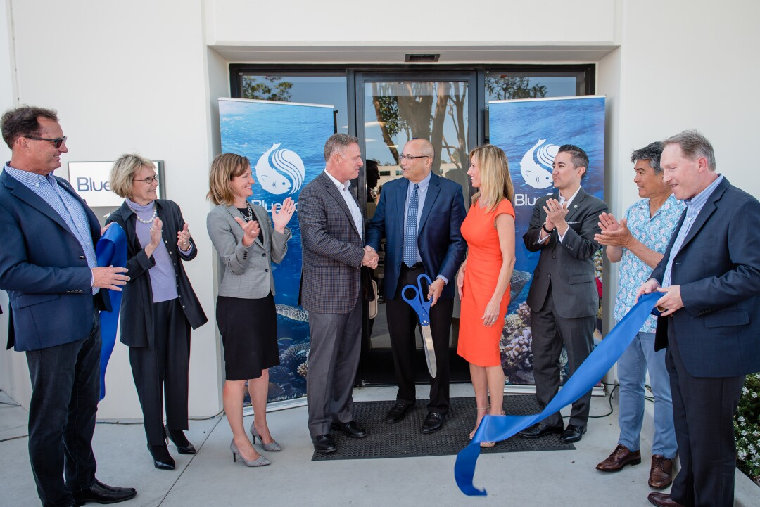 At a ribbon-cutting event in April, Congressman Scott Peters (CA-52) shook hands with Lou Cooperhouse, President and CEO of BlueNalu.