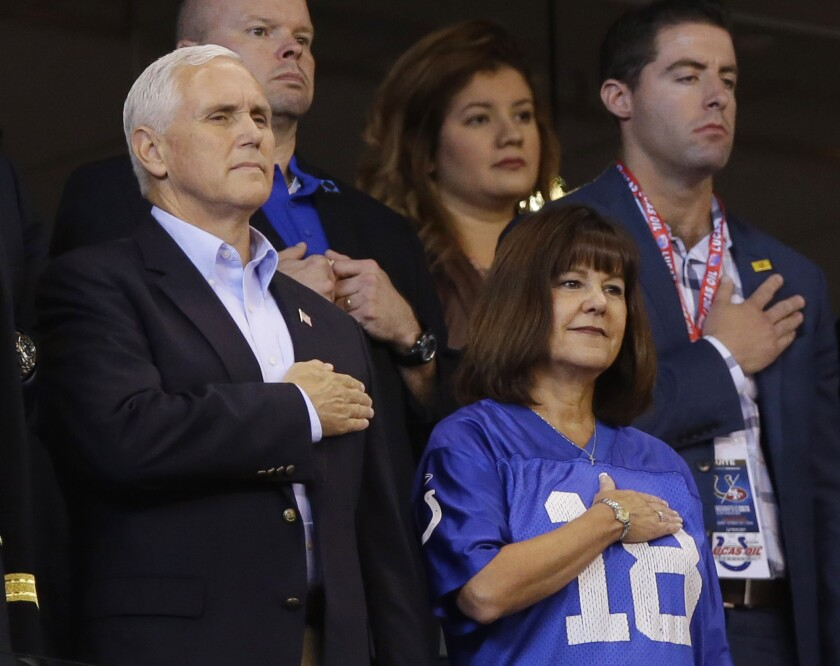 Vice President Mike Pence and his wife, Karen, left early during the Oct. 8 Colts-49ers game.