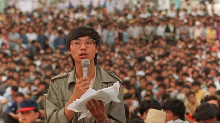 Student leader Wang Dan addresses a mass protest rally in Tiananmen Square in Beijing on May 27, 1989.