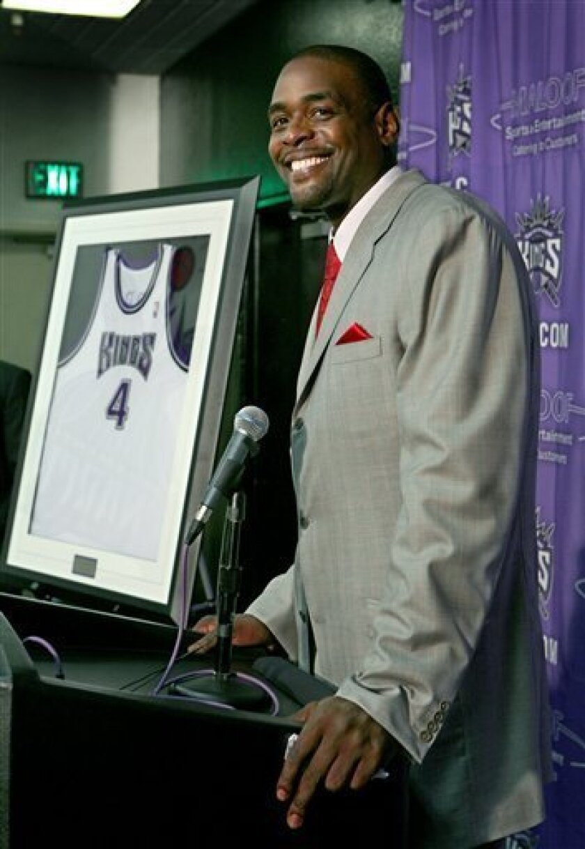 Former Sacramento Kings forward Chris Webber talks about his time spent as a King during a pre-game news conference before an NBA basketball game against the Utah Jazz in Sacramento, Calif., Friday, Feb. 6, 2009. Webber's number 4 jersey will be retired during a ceremony at halftime. (AP Photo/Steve Yeater)