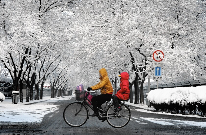 Snow coats trees in Beijing, which is on the receiving side of a line determining who gets central heat.