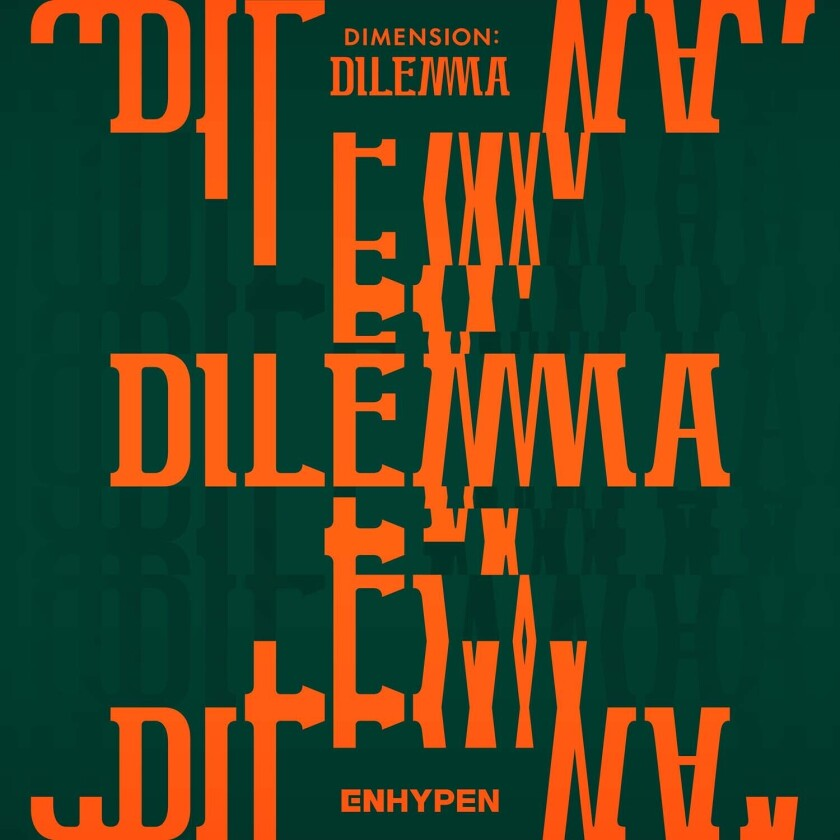 """This cover image released by BELIFT shows """"Dimension: Dilemma"""" by ENHYPEN. (BELFT via AP)"""