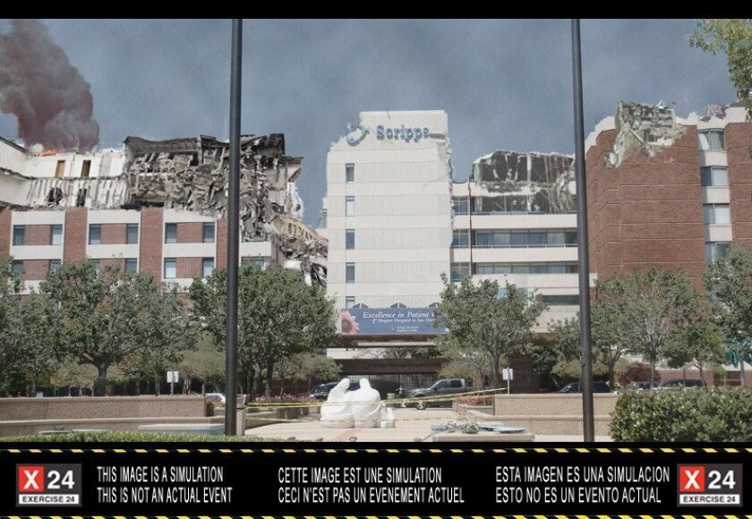 SDSU illustration of partial collapse of a Scripps Hospital La Jolla  in the mock earthquake.