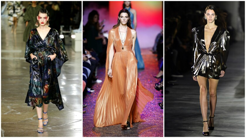 Disco-inspired looks are featured in the Paris runway collections of, left to right, Kenzo, Elie Saab and Saint Laurent.