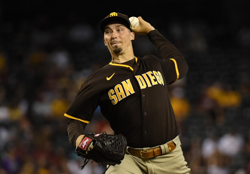 Blake Snell delivers a pitch against the Arizona Diamondbacks