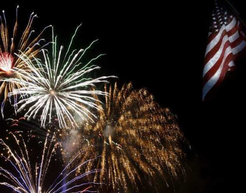 Fireworks display for thousands at La Crescenta Elementary School in La Crescenta on Wednesday July 4, 2012.