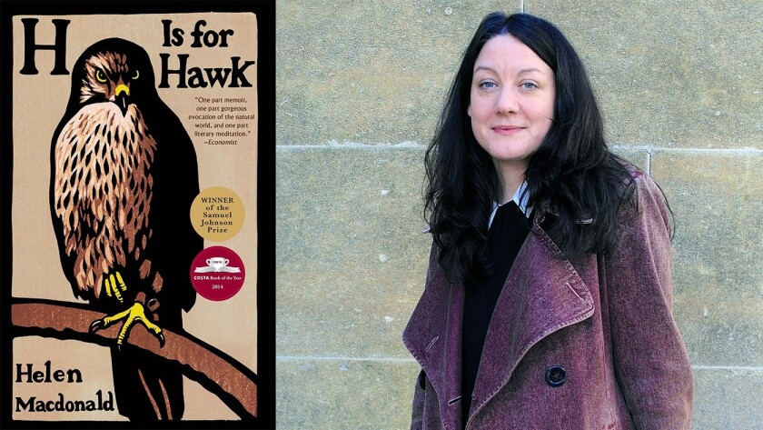 """Author Helen Macdonald and the cover of book the """"H is for Hawk"""""""