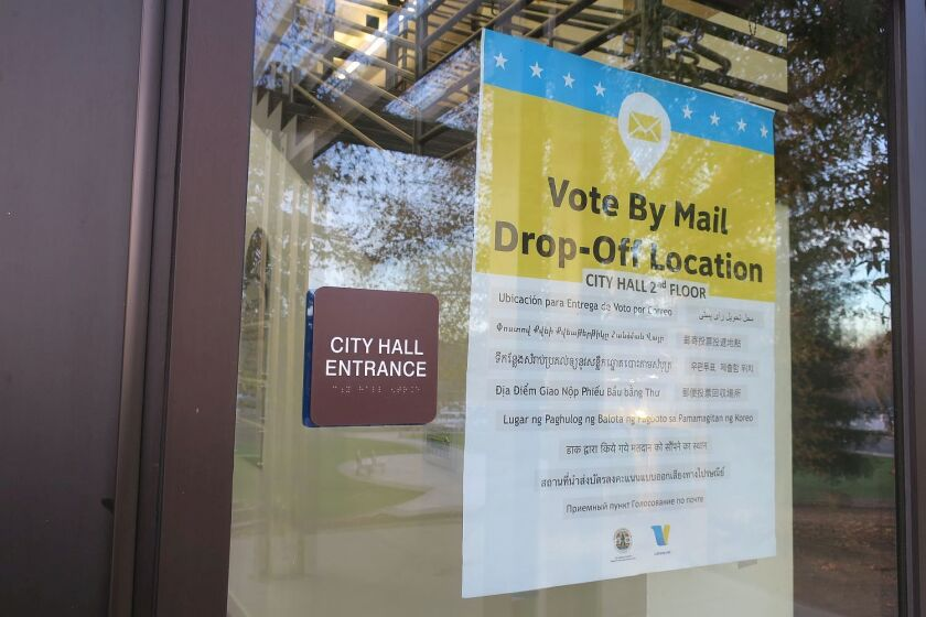 """Sign posted at La Cañada-Flintridge City Hall: """"Vote by mail drop off location."""""""