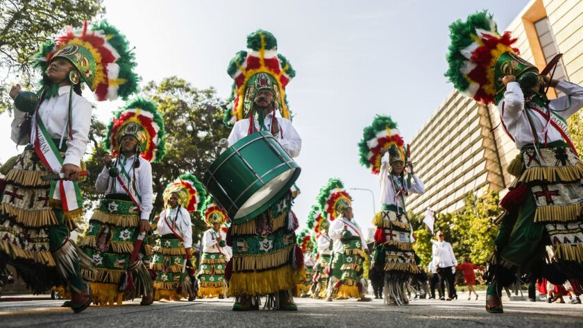 LOS ANGELES, CA -- SATURDAY, AUGUST 25, 2018-- Mexican dancers begin the procession to honor Our Lad