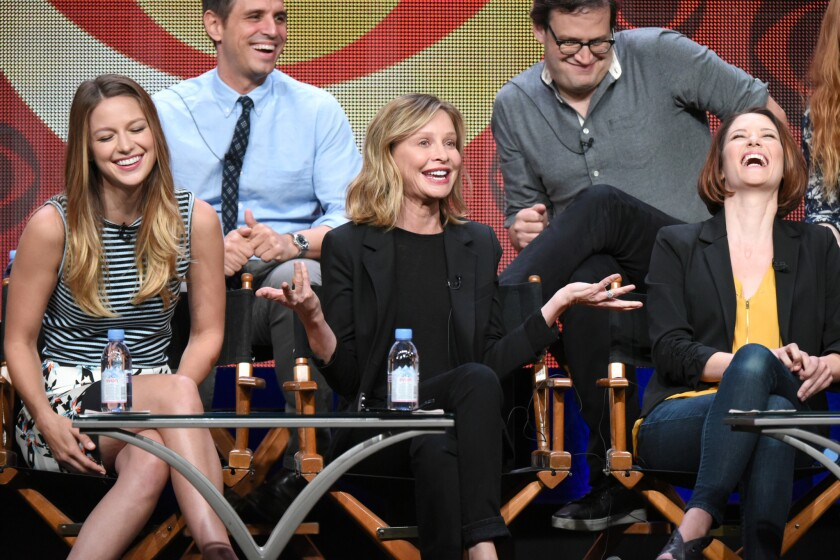 "Melissa Benoist, left, Greg Berlanti, Calisa Flockhart, Andrew Kreisberg and Chyler Leigh participate in the ""Supergirl"" panel at the Beverly Hilton Hotel on Aug. 10, 2015, in Beverly Hills."