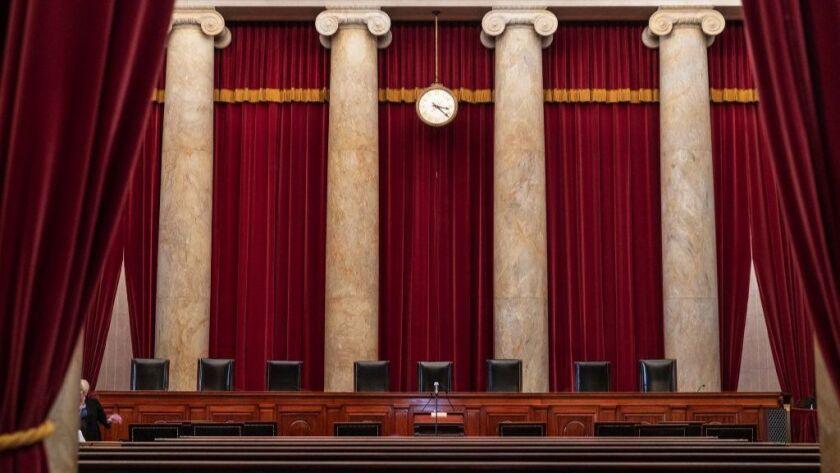 The interior of the U.S. Supreme Court in Washington.