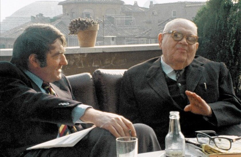 """Claude Lanzmann, left, and Benjamin Murmelstein in a scene from """"The Last of the Unjust."""""""