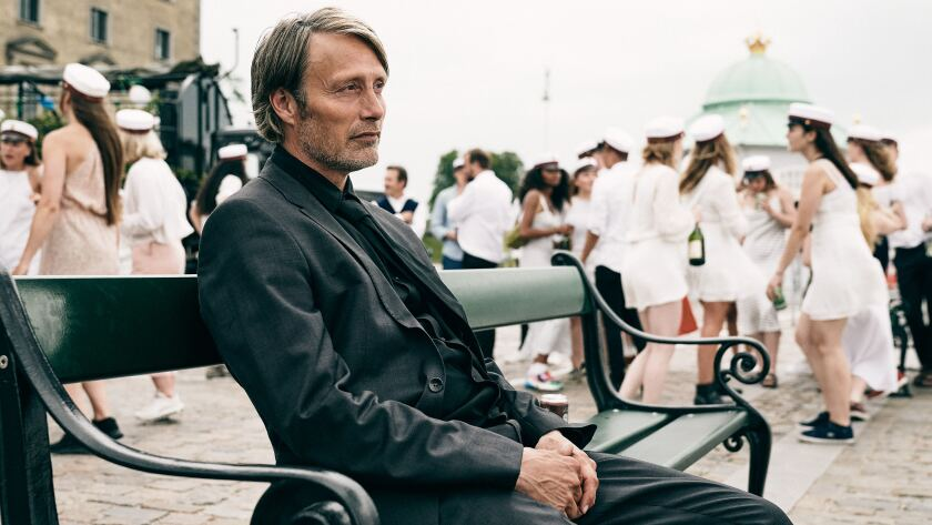 """Mads Mikkelsen in a scene from Thomas Vinterberg's """"Another Round."""""""