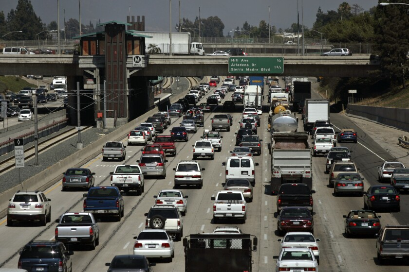Eastbound traffic crawls on 210 Freeway on a Friday afternoon.