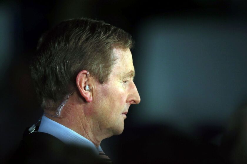 Irish Prime Minister Enda Kenny, Fine Gael party leader, attends the vote count for general elections in Castlebar on Saturday.