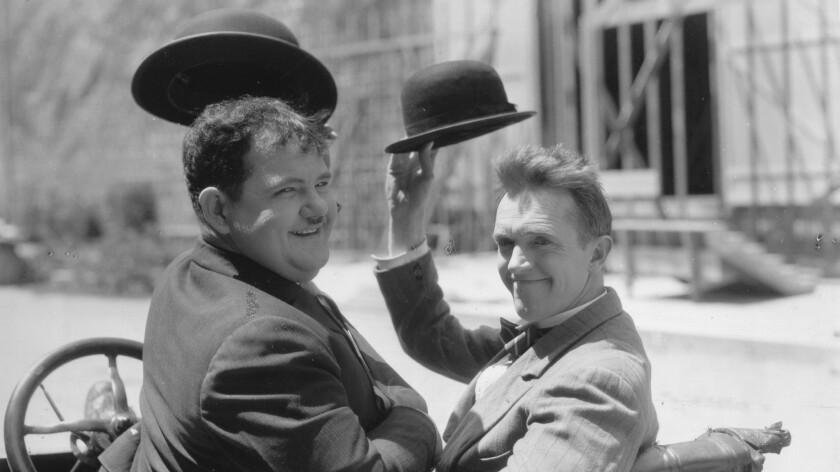 Oliver Hardy, left, and Stan Laurel.