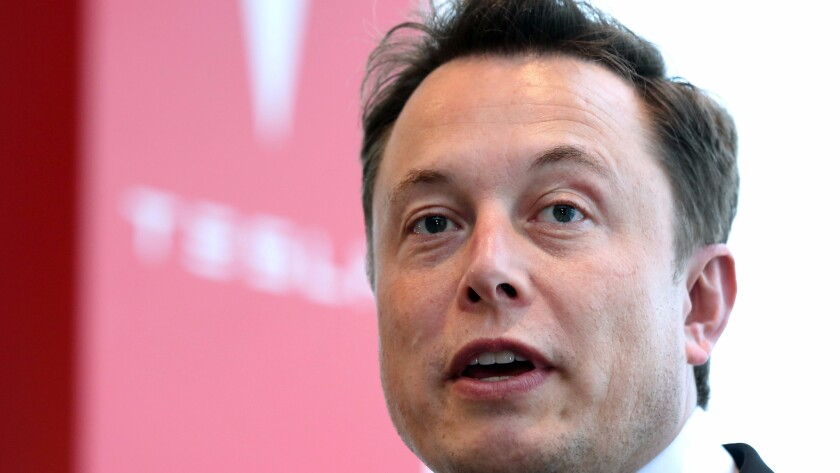 "Elon Musk, seen here addressing shareholders, has said SolarCity's rooftop solar panels, Tesla storage batteries and Tesla electric cars make for a cohesive ""end-to-end"" sustainable energy company."