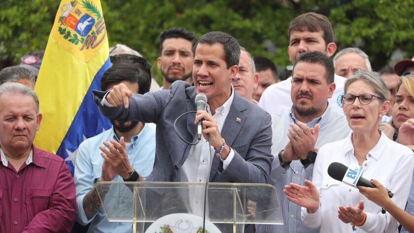 Juan Guaido leads a demonstration in Caracas, Venezuela - 11 May 2019