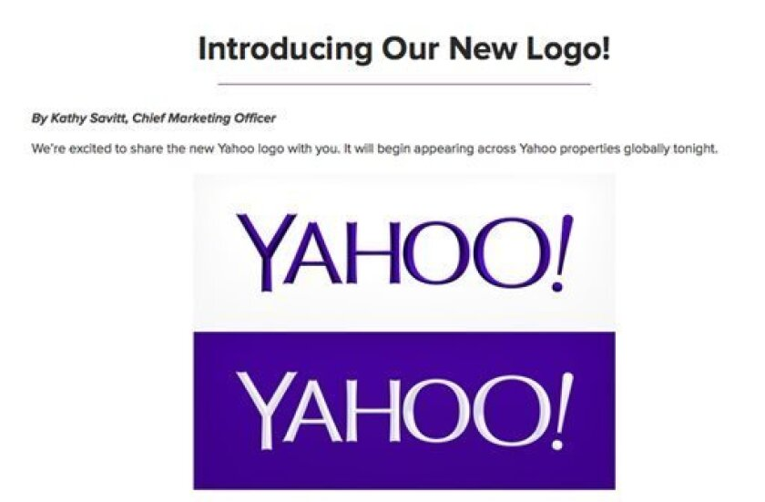 This screen grab made from Yahoo Inc.'s Tumblr page shows the company's new logo in a post published on Wednesday, Sept. 4, 2013. Yahoo has adopted a new logo for the first time since shortly after the Internet company's founding 18 years ago. The redesigned look unveiled late Wednesday is part of a makeover that Yahoo Inc. has been undergoing since the Sunnyvale, Calif., company hired Google executive Marissa Mayer to become Yahoo's CEO. (AP Photo/Yahoo Inc.)