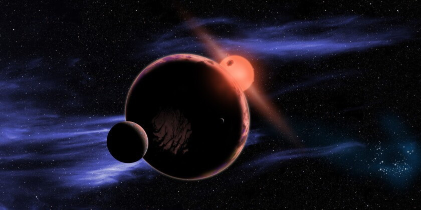 An artist's depiction of a habitable planet with two moons orbiting a red dwarf star. A new analysis of Kepler data suggests red dwarfs may host many Earth-like, and potentially habitable, worlds.