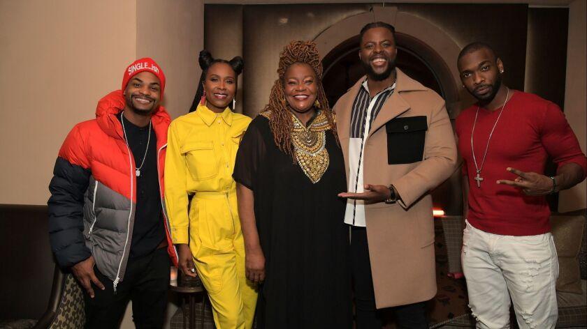 King Bach, from left, Sydelle Noel, Cora Pantin, Winston Duke and Jay Pharoah attend the MCM X GQ dinner the Restaurant at Montage Beverly Hills celebrating Duke as a 2018 breakout star on Wednesday.