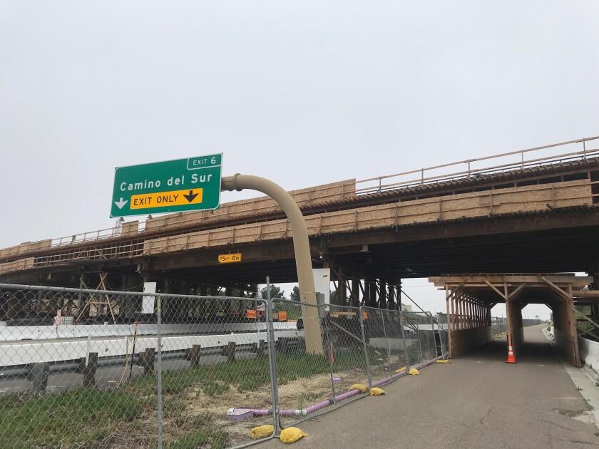 The Torrey Meadows Bridge under construction before the Camino Del Sur exit on SR-56.