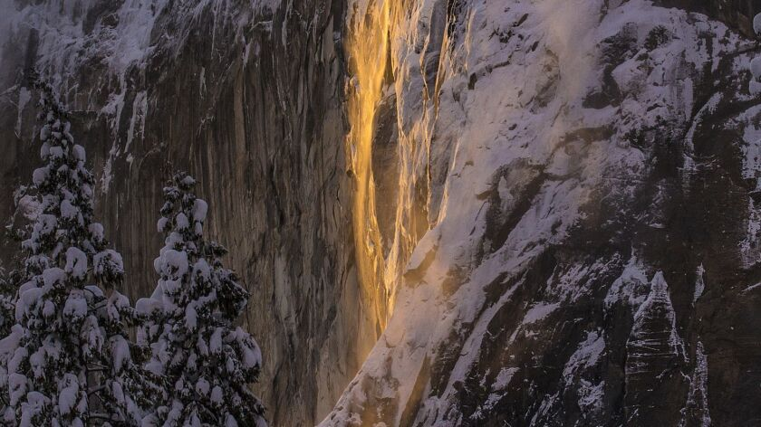 """Firefall"" at Horsetail Fall in Yosemite National Park, Calif."
