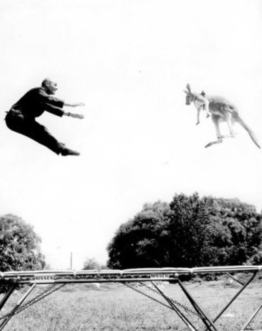 George Nissen rented a kangaroo to help demonstrate his trampoline in New York's Central Park in 1960. He introduced trampolines in 40 countries.