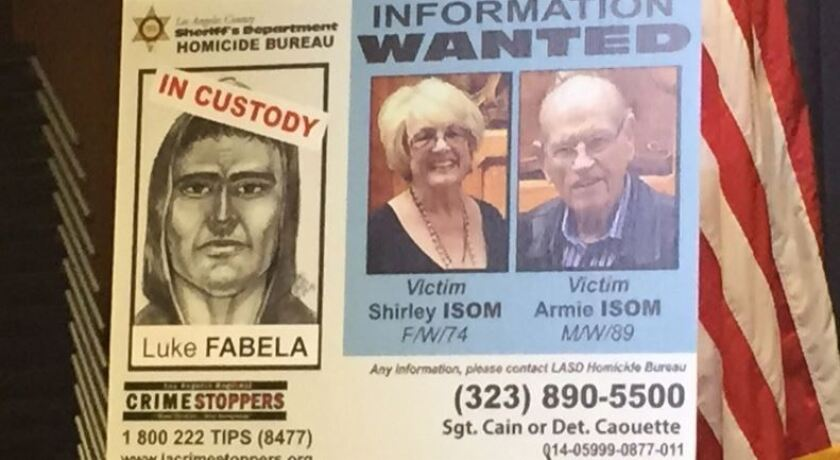 A poster displayed at a news conference in May 2015 shows the suspect and victims.