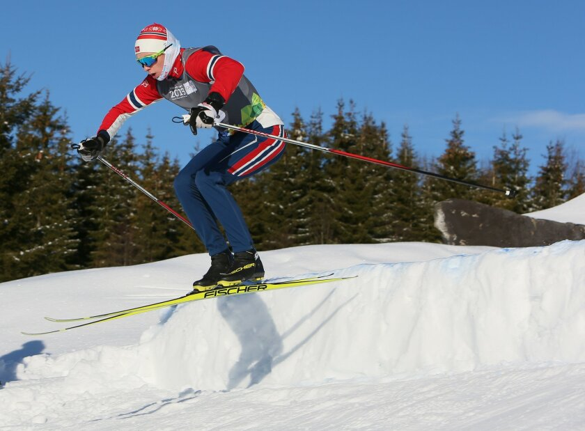 Vebjoern Hegdal of Norway during a Ski Cross practice session at the Birkebeineren Cross Country Stadium ahead of the Winter Youth Olympic Games, Lillehammer, Norway, Friday Feb. 12, 2016. (Arnt Folvik/YIS/IOC)