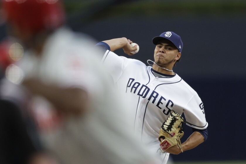 San Diego Padres starting pitcher Dinelson Lamet works against a Philadelphia Phillies batter during