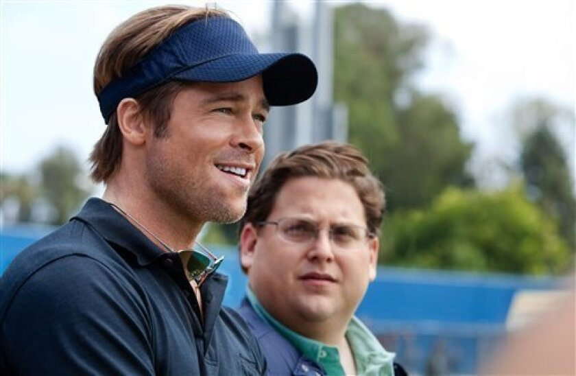 """In this image released by Sony Pictures, Brad Pitt, left, and Jonah Hill are shown in a scene from """"Moneyball."""""""