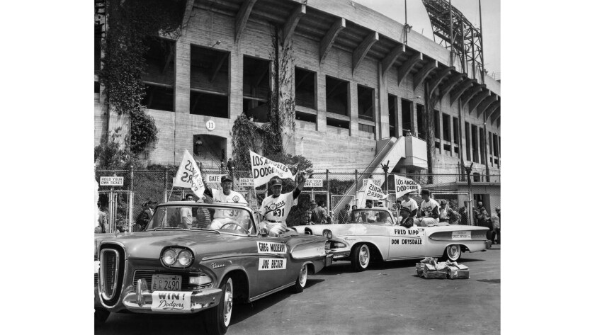 April 18, 1958: The Dodgers caravan arrives at the Memorial Coliseum to play the Giants.