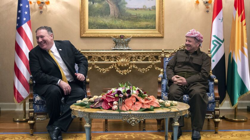 U.S. Secretary of State Mike Pompeo, left, meets with Masoud Barzani leader of the Kurdistan Democra
