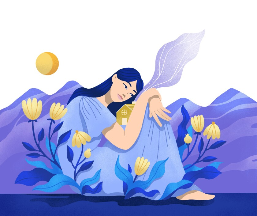 Illustration of a woman hugging her home as flowers bloom around her.