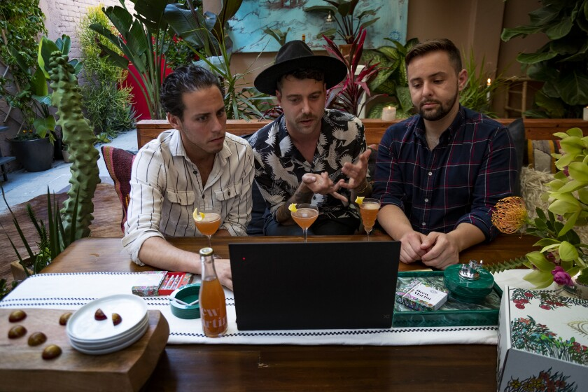 Drew Martin founders Andrew Freeman, Drew Martin Gosselin and Nicholas Pritzker host a virtual get-together