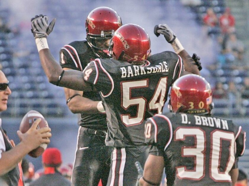 SDSU linebacker Demetrius Barksdale (54) celebrates after making a safety in the second quarter against New Mexico.