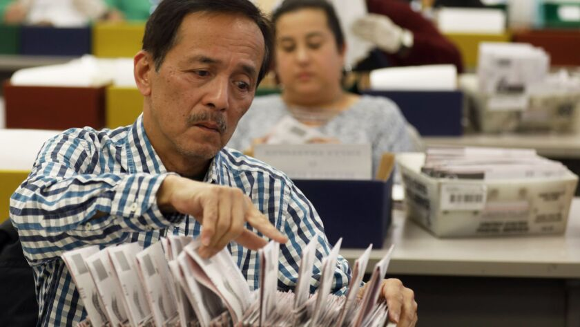 Workers at the Los Angeles County Registrar-Recorder/County Clerk office review ballots Tuesday in Norwalk.