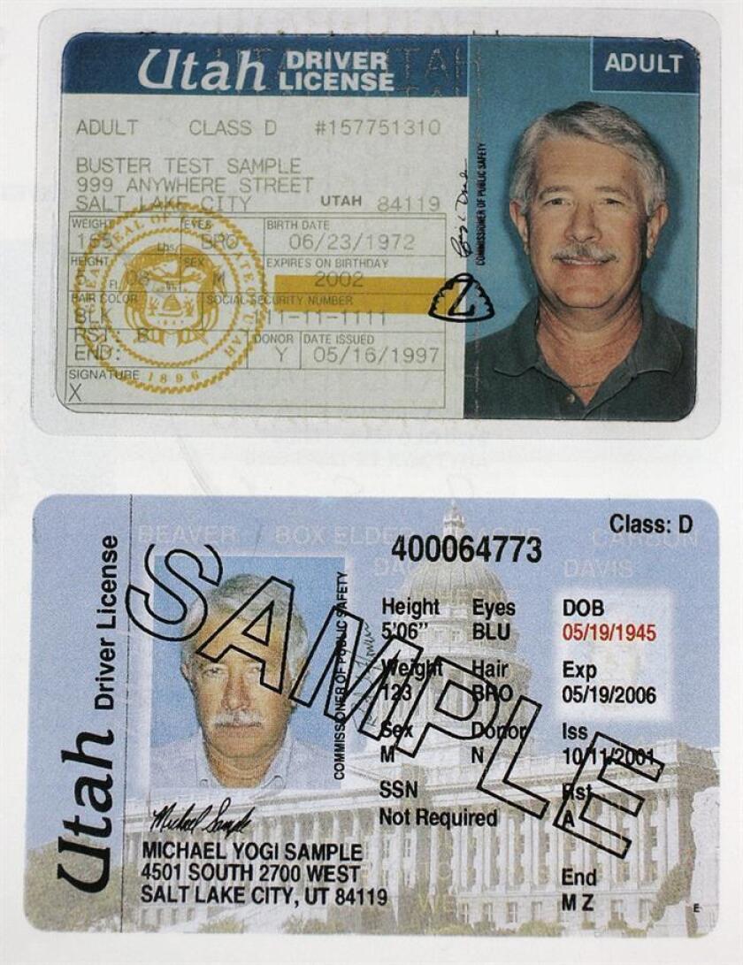 Fotografía de las licencias de conducir de Utah, tomada el 25 de febrero en Provo, Utah (EEUU). EFE/Archivo