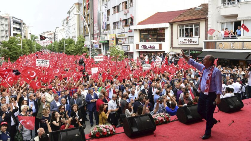 Muharrem Ince, presidential candidate of Turkey's main opposition Republican People's Party, address