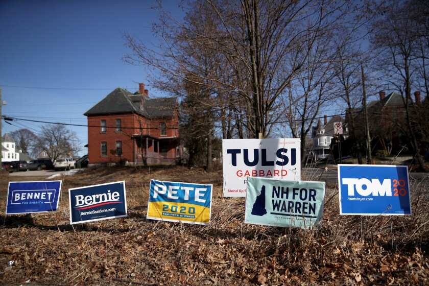 Yard signs for Democratic presidential candidates