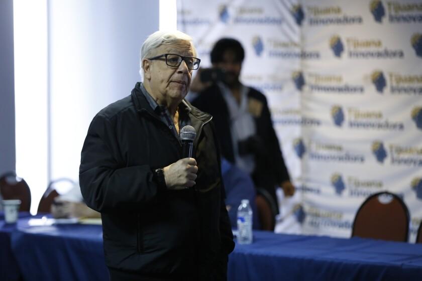José Galicot Behar the man behind Tijuana Innovadora speaking to the media in 2016.