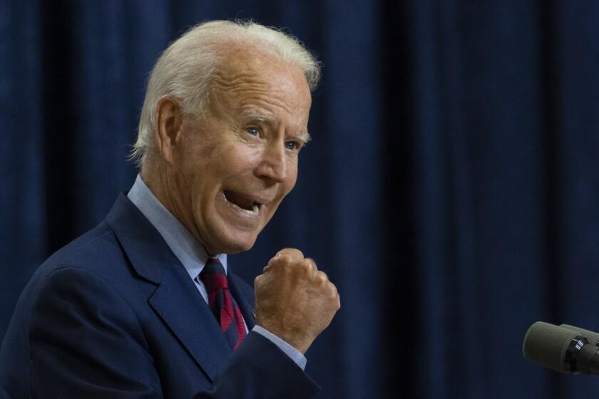 Democratic presidential nominee Joe Biden speaks on Friday in Wilmington, Del.