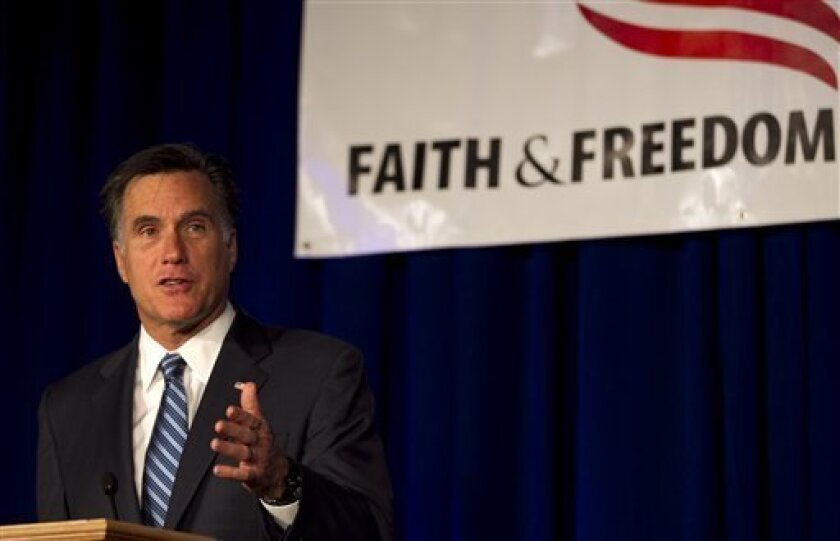 Republican presidential candidate, former Massachusetts Gov. Mitt Romney speaks to an audience at a meeting of the Wisconsin Faith & Freedom Coalition during a campaign stop in Pewaukee, Wis., Saturday, March 31, 2012. (AP Photo/Steven Senne)