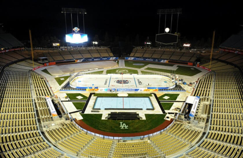 Even with the heat, it's game on for hockey at Dodger Stadium