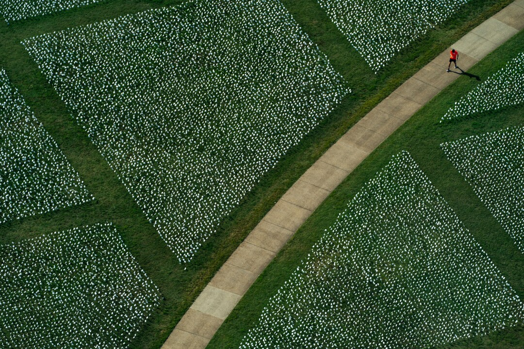 Aerial view of someone walking on a pathway between blocks of white flags planted in the grass