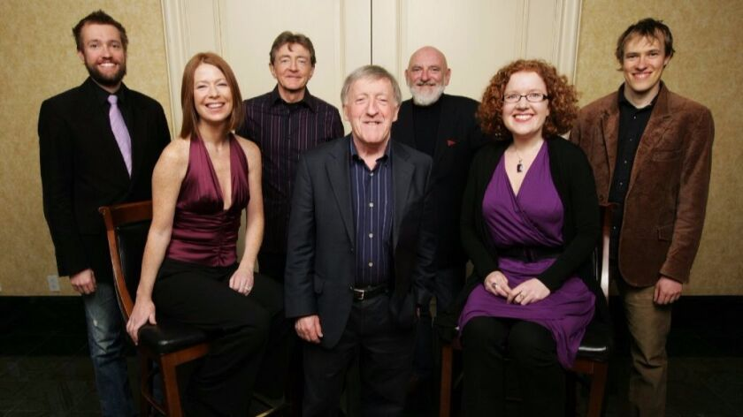 Paddy Moloney (front row, center) is still leading The Chieftains after 55 years. Ireland's top Celtic music band performs in San Diego on Saturday.