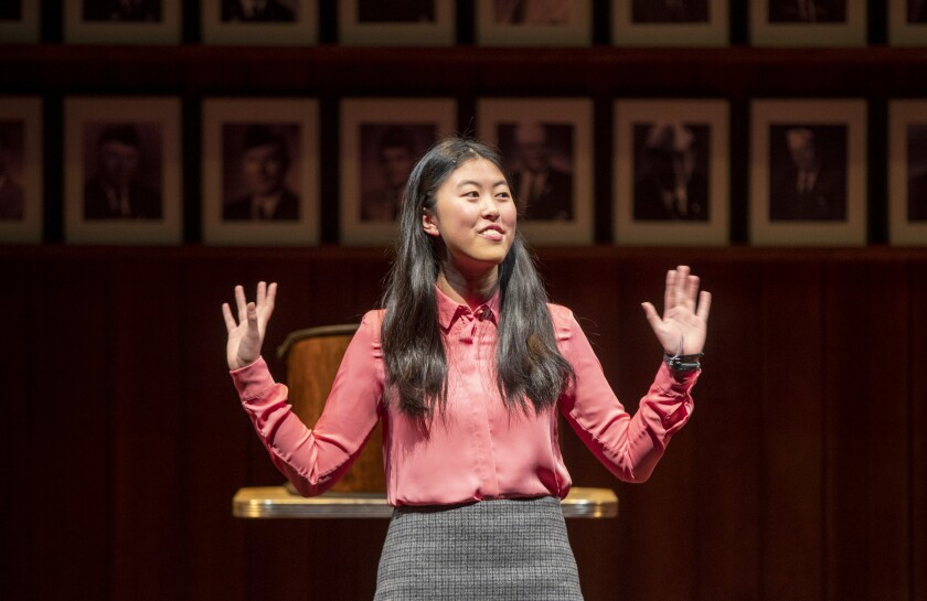 "Jocelyn Shek rehearses ""What the Constitution Means to Me"" at the Mark Taper Forum."
