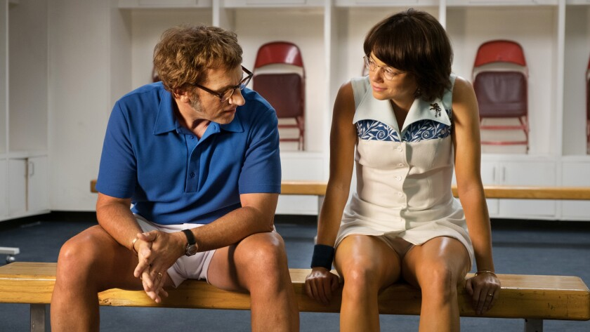 Steve Carell and Emma Stone in the film BATTLE OF THE SEXES. Photo by Melinda Sue Gordon. © 2017 Twe